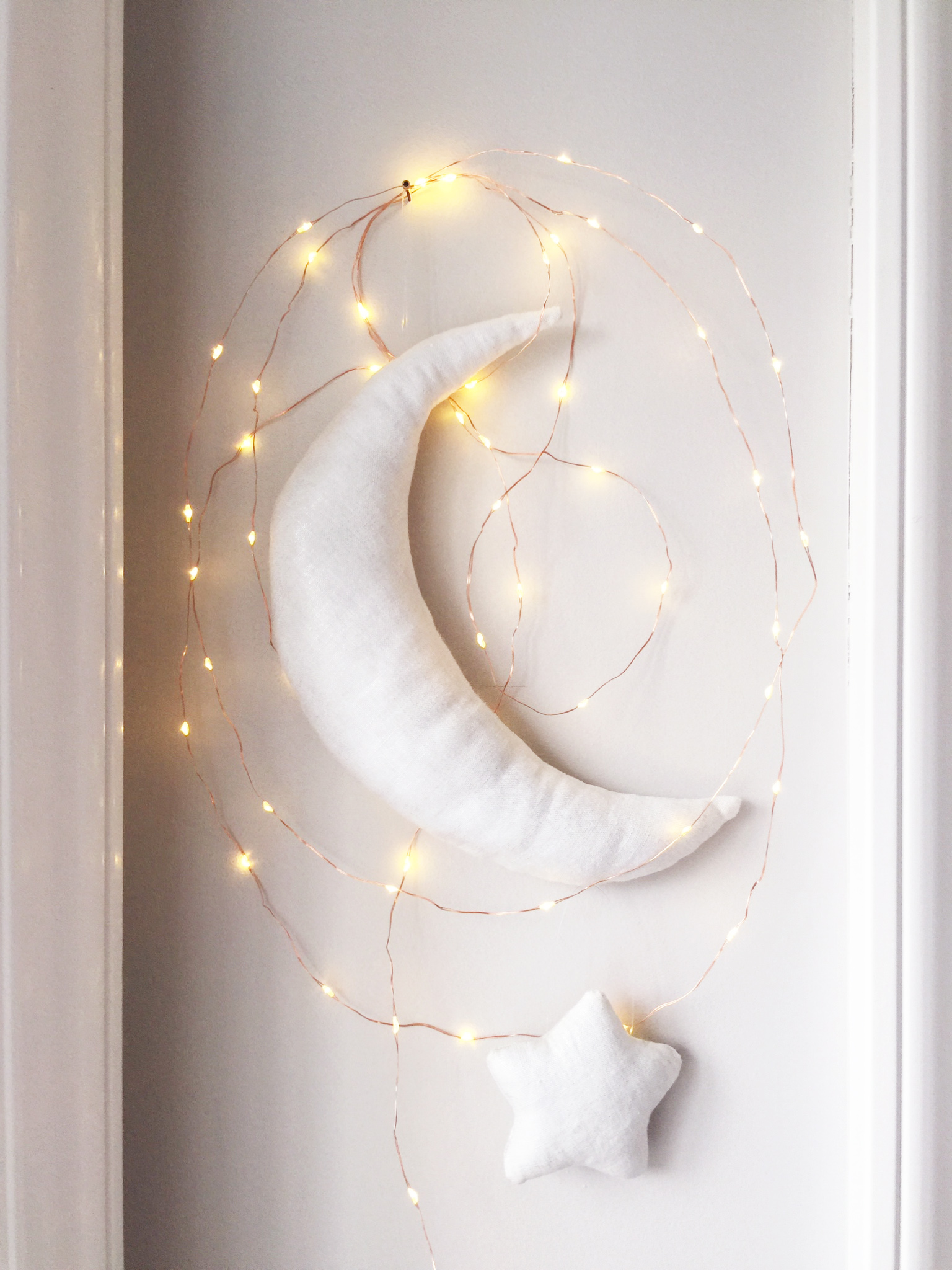 moon and star with fairy lights