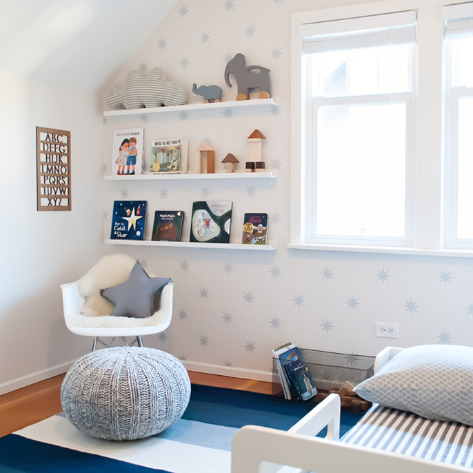 Hudson's blue and white toddler room