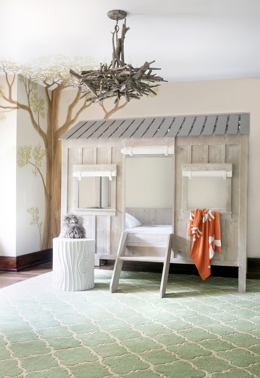 nature inspired boy room with loft bed