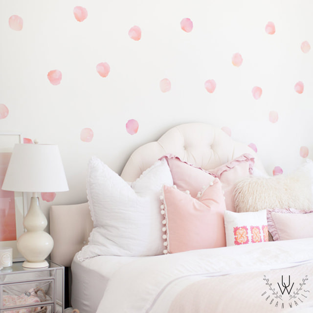 watercolour decals in bedroom