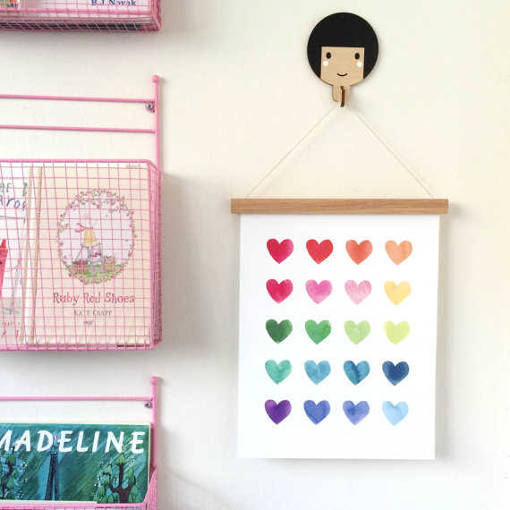 watercolour heart wall print