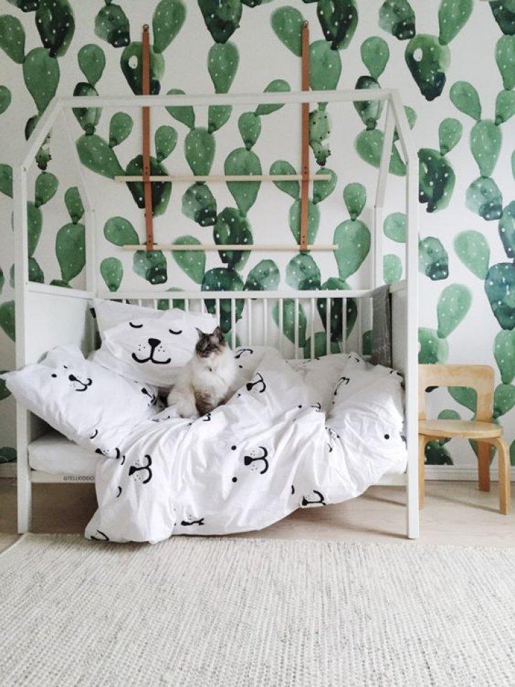 cactus wallpaper in kids room