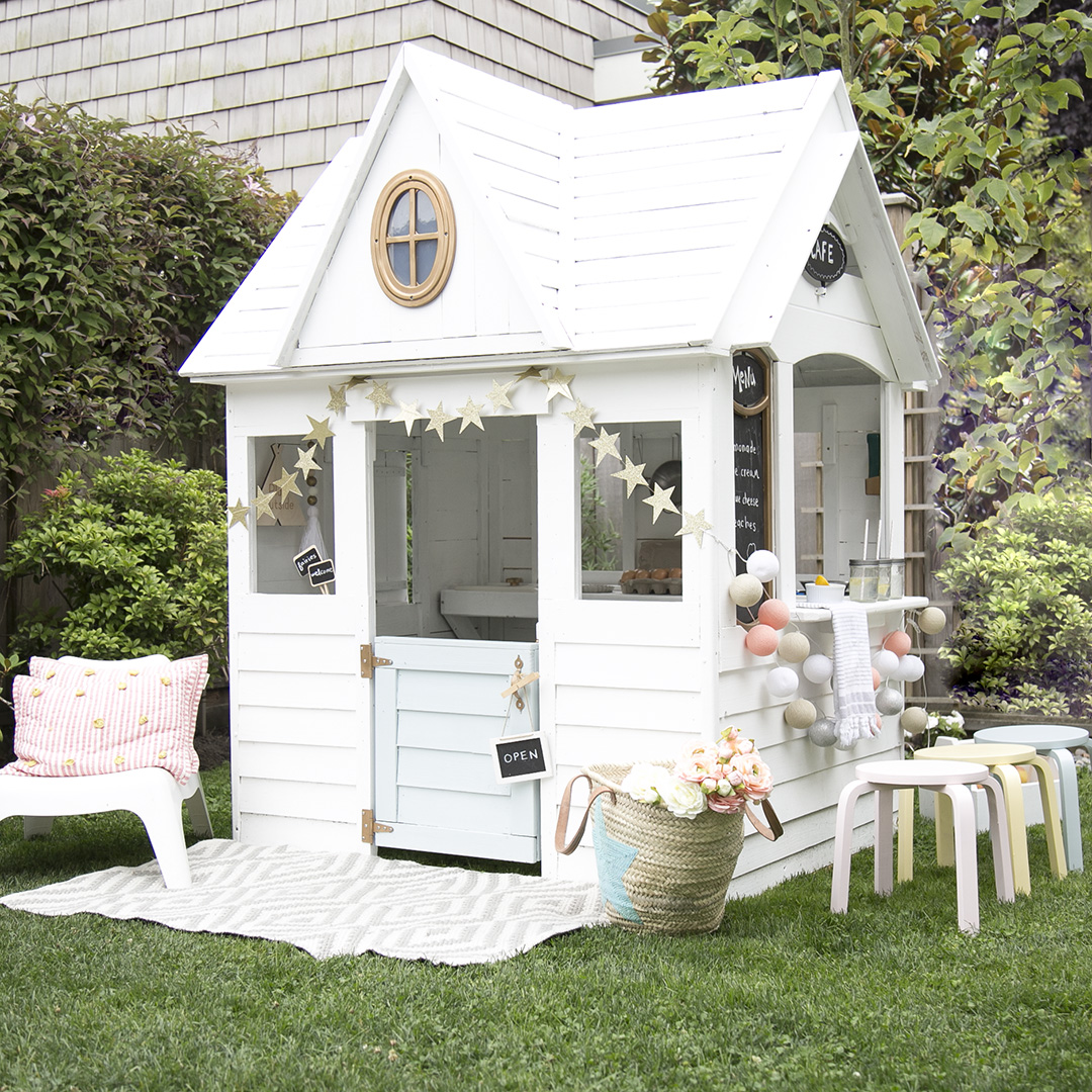 costco wooden playhouse revamped