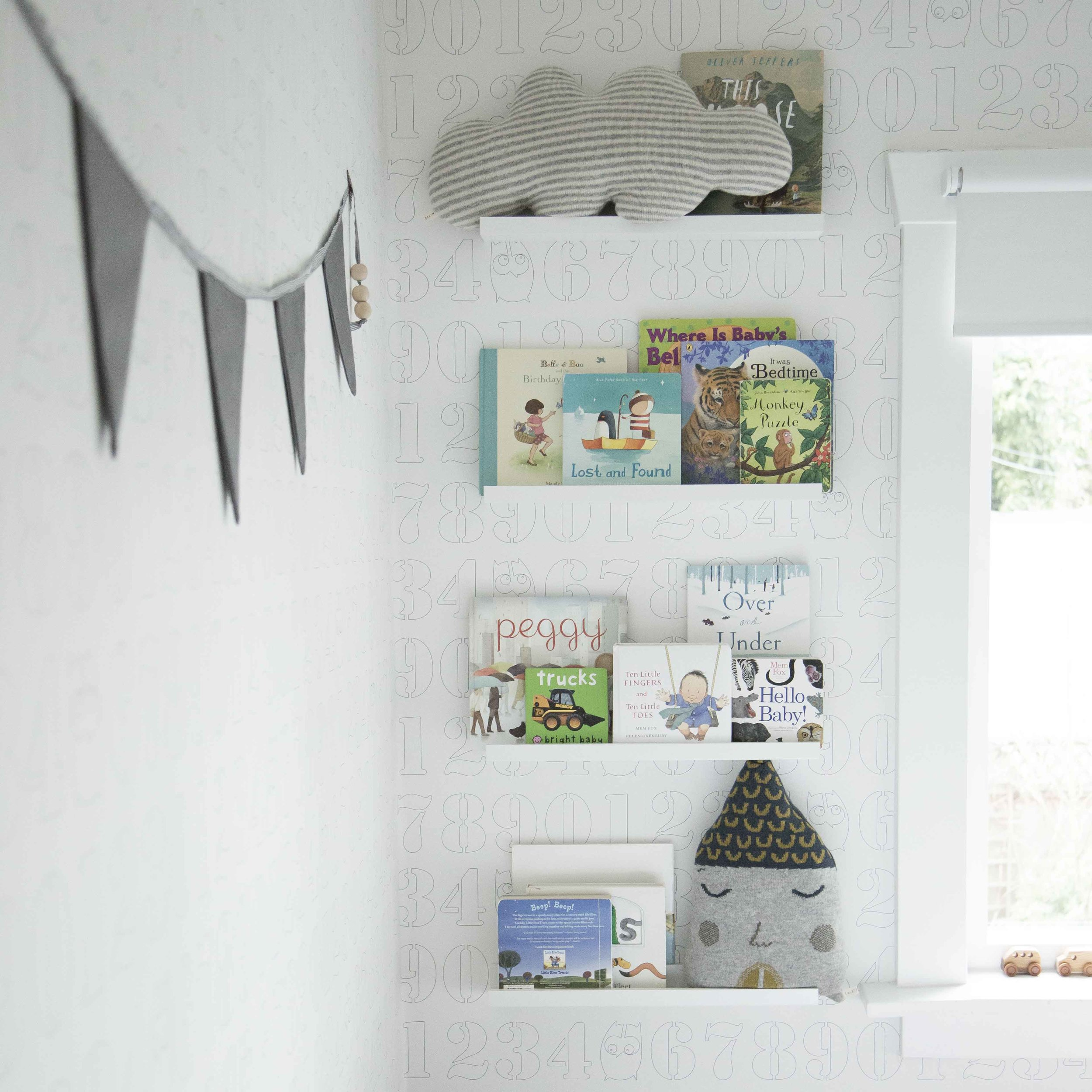 book wall in kids room