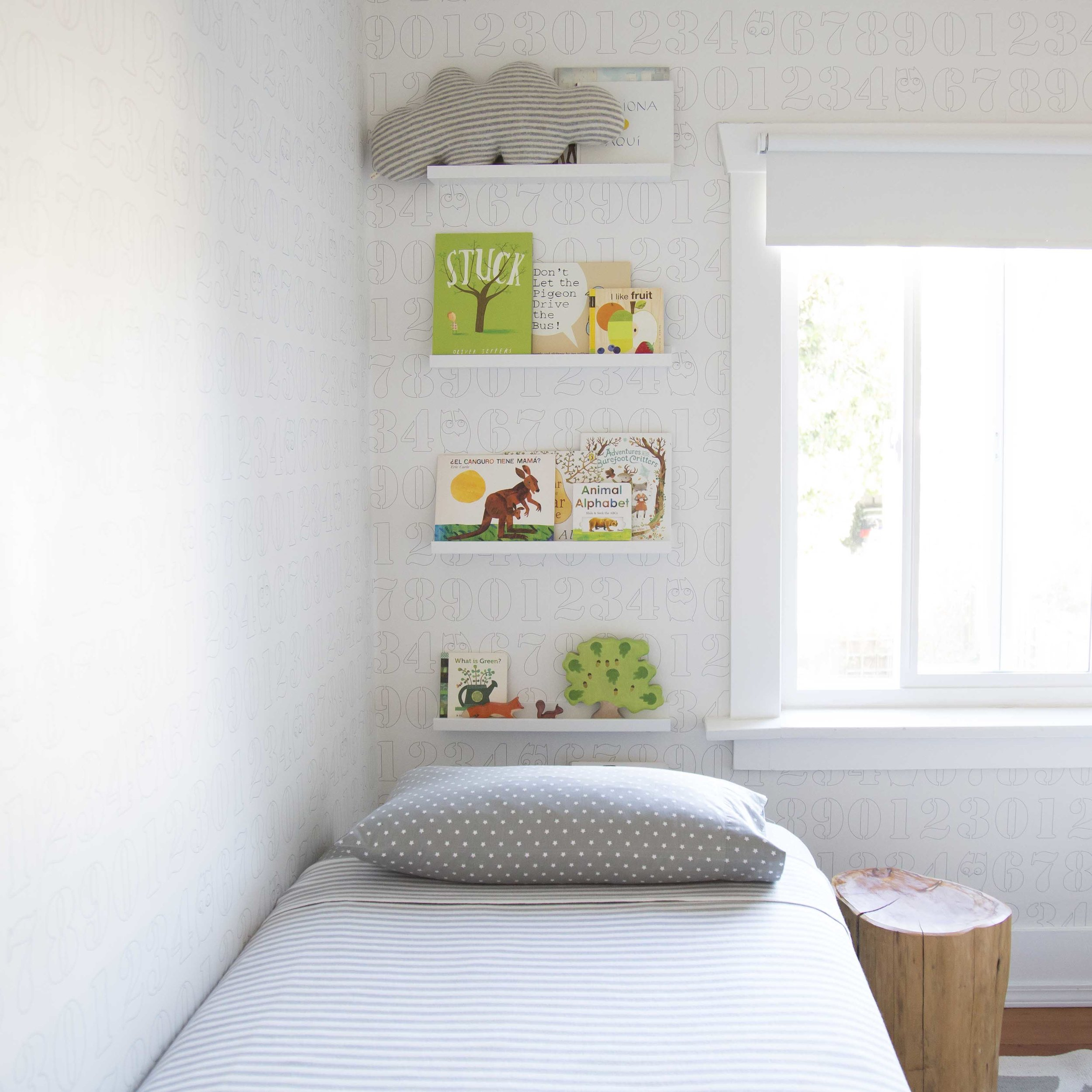 book wall kids room green