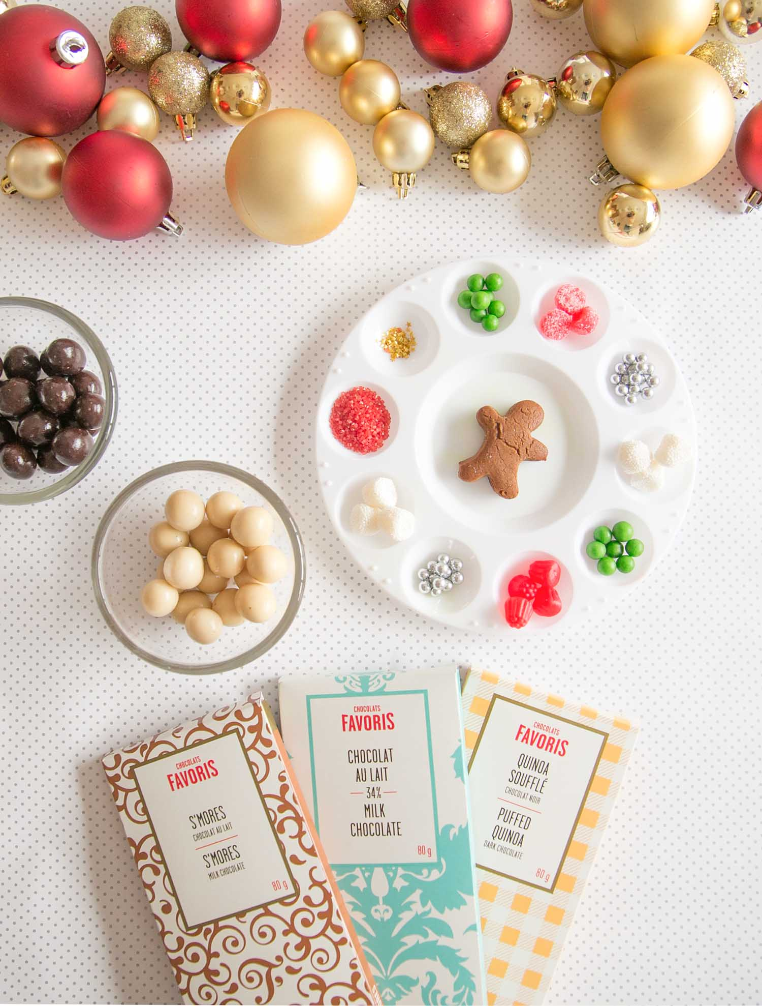 gingerbread house decorating with chocolate bars
