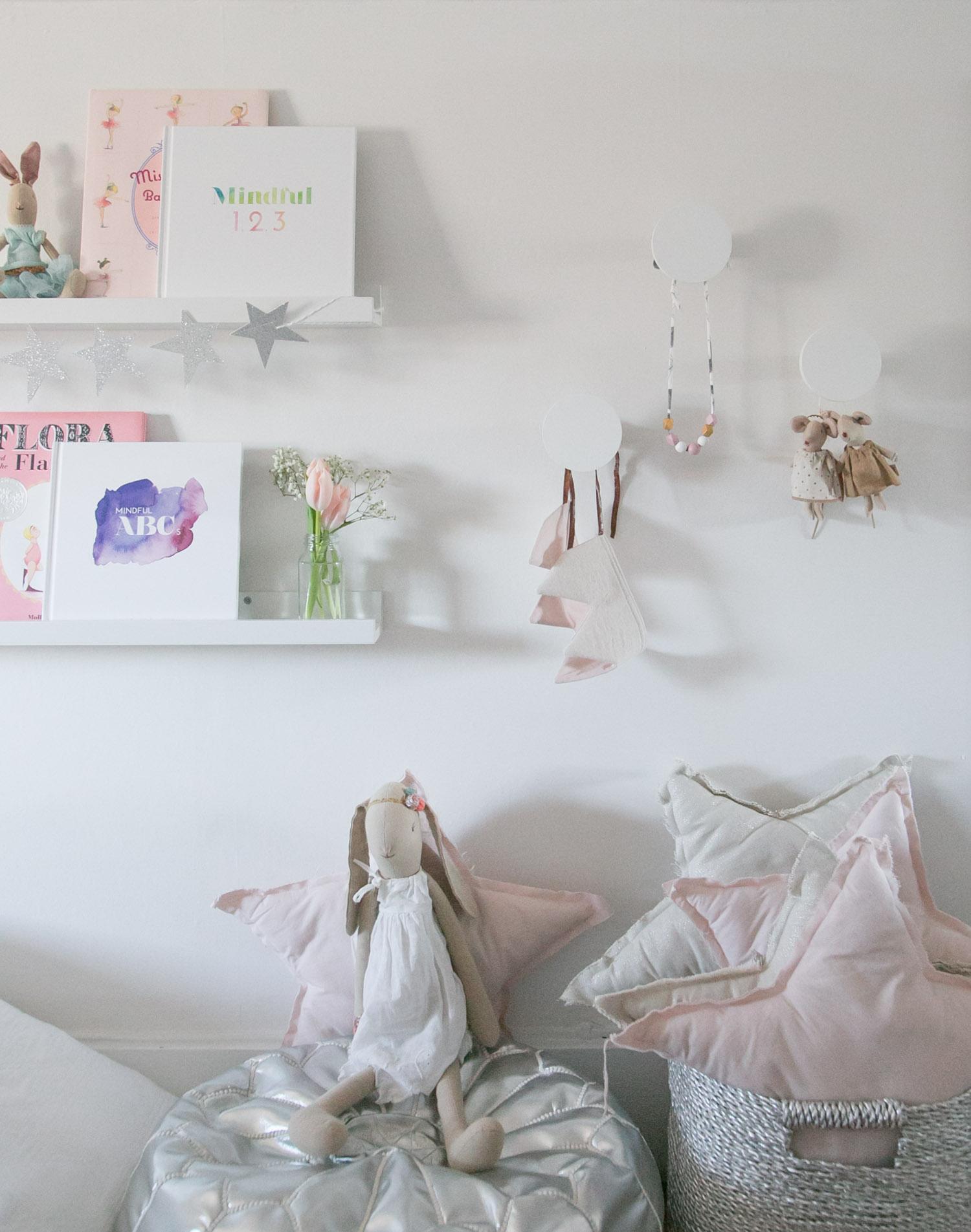 styled shelves in kids room