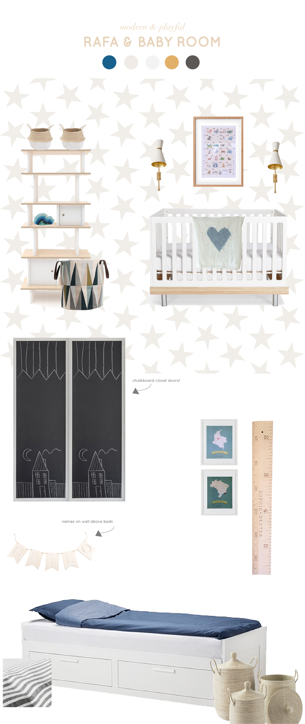 design board by Children's Interior Designer Melissa Barling from WINTER DAISY