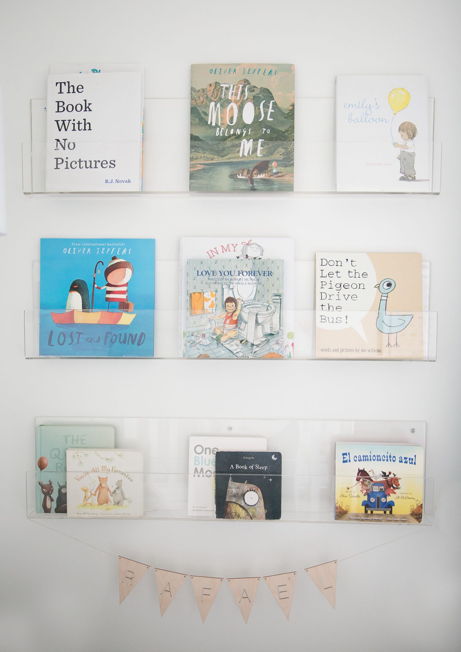 Ubabub book shelves in baby and toddler shared boys room