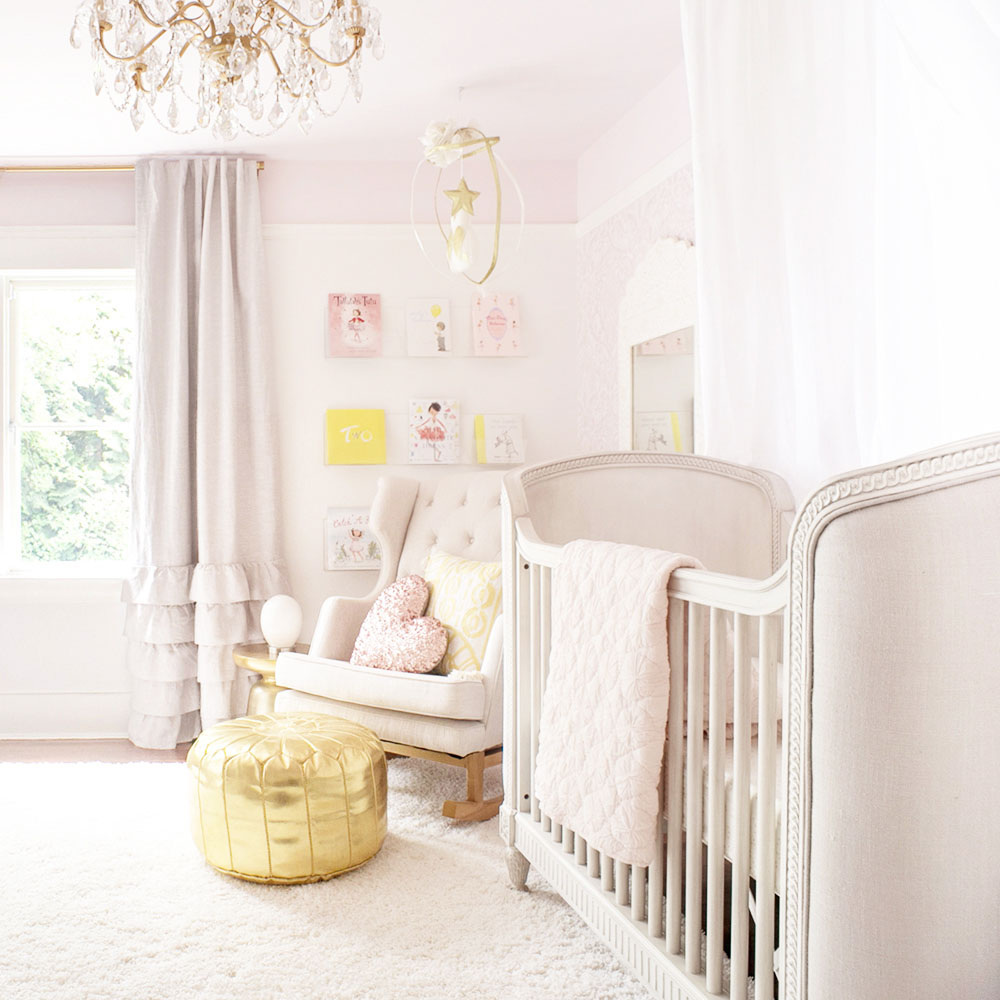 pink and gold baby girl room by Vancouver Kids Interior Designer Melissa Barling