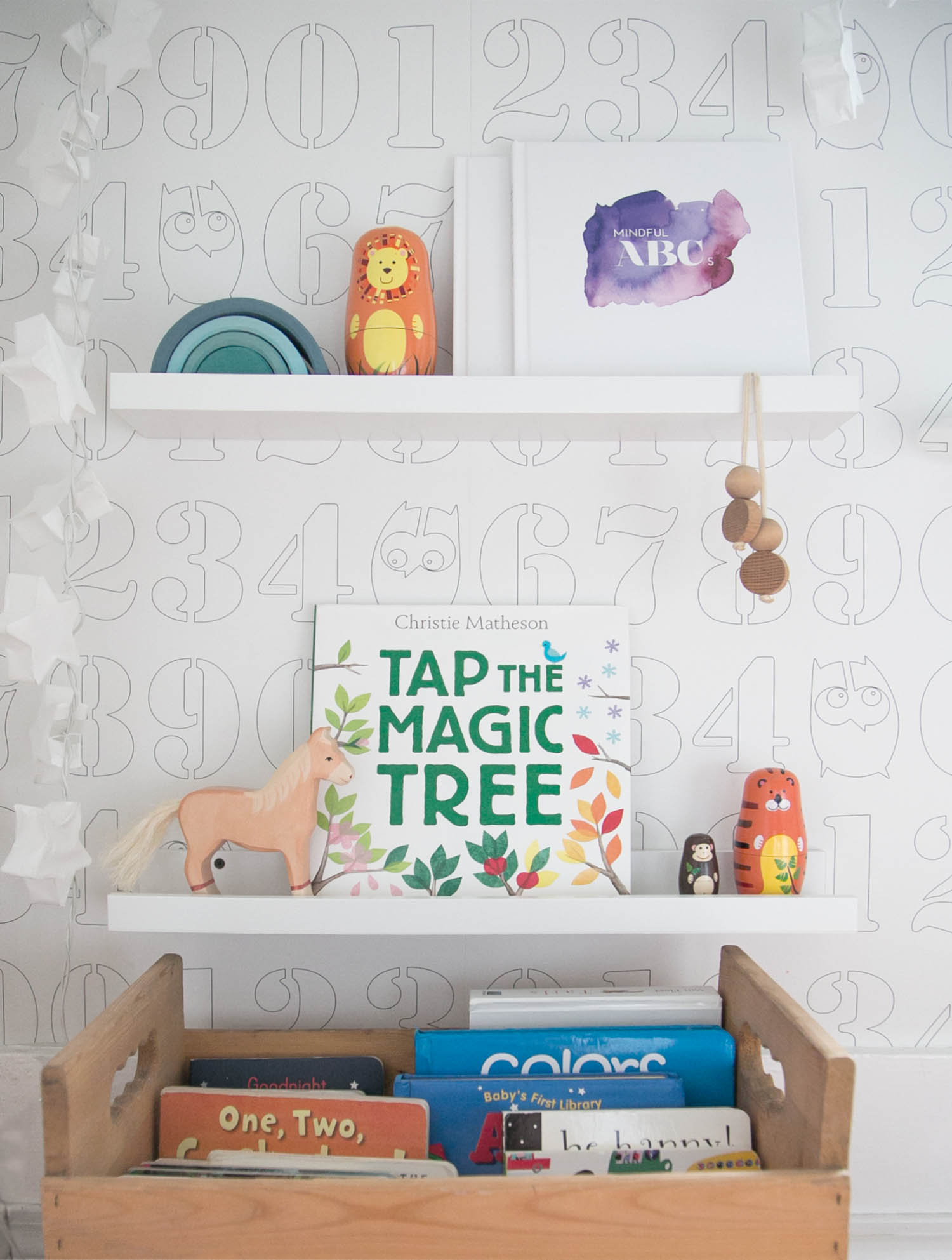 bookshelf in kids playroom