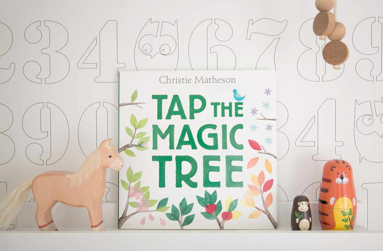 Tap the Magic tree kids book on shelf