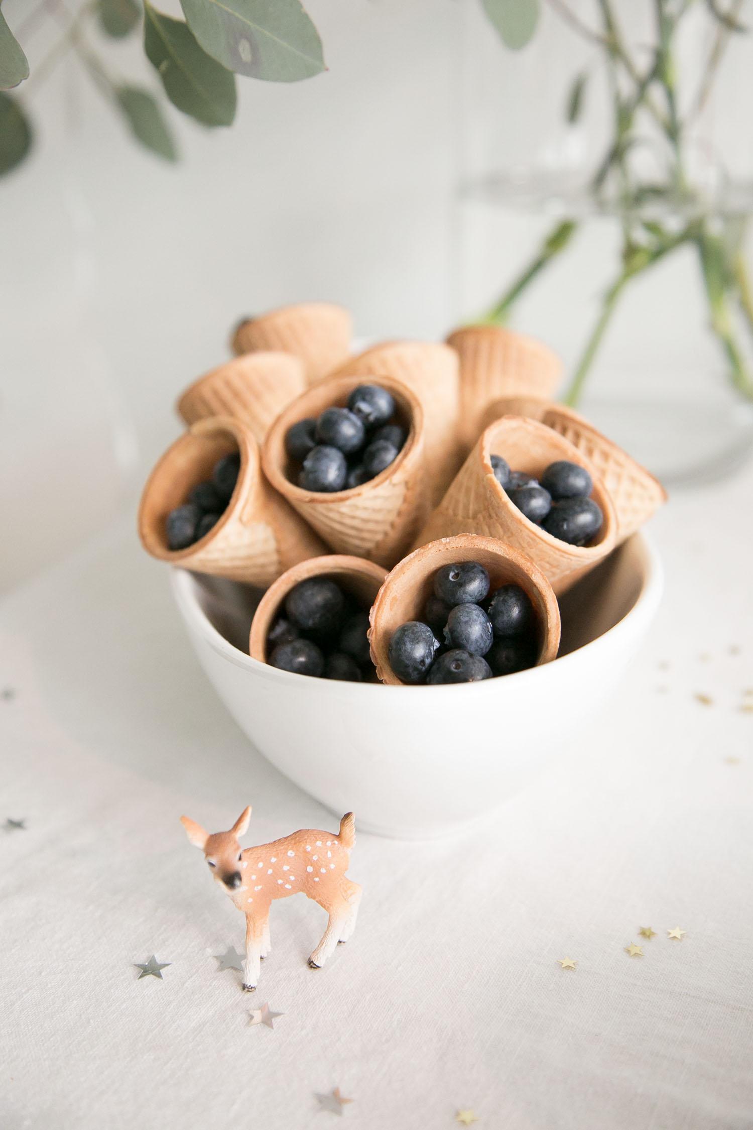 blueberries in ice cream cones