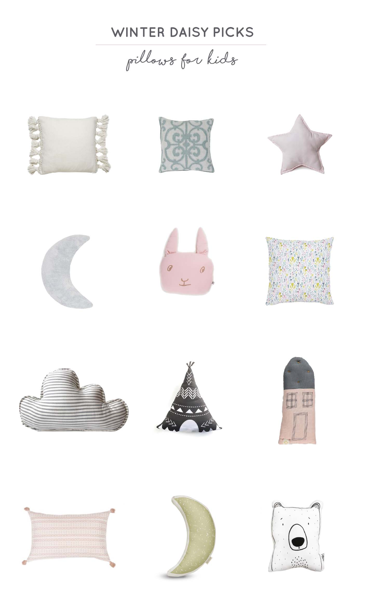 Winter Daisy picks pillows for kids rooms
