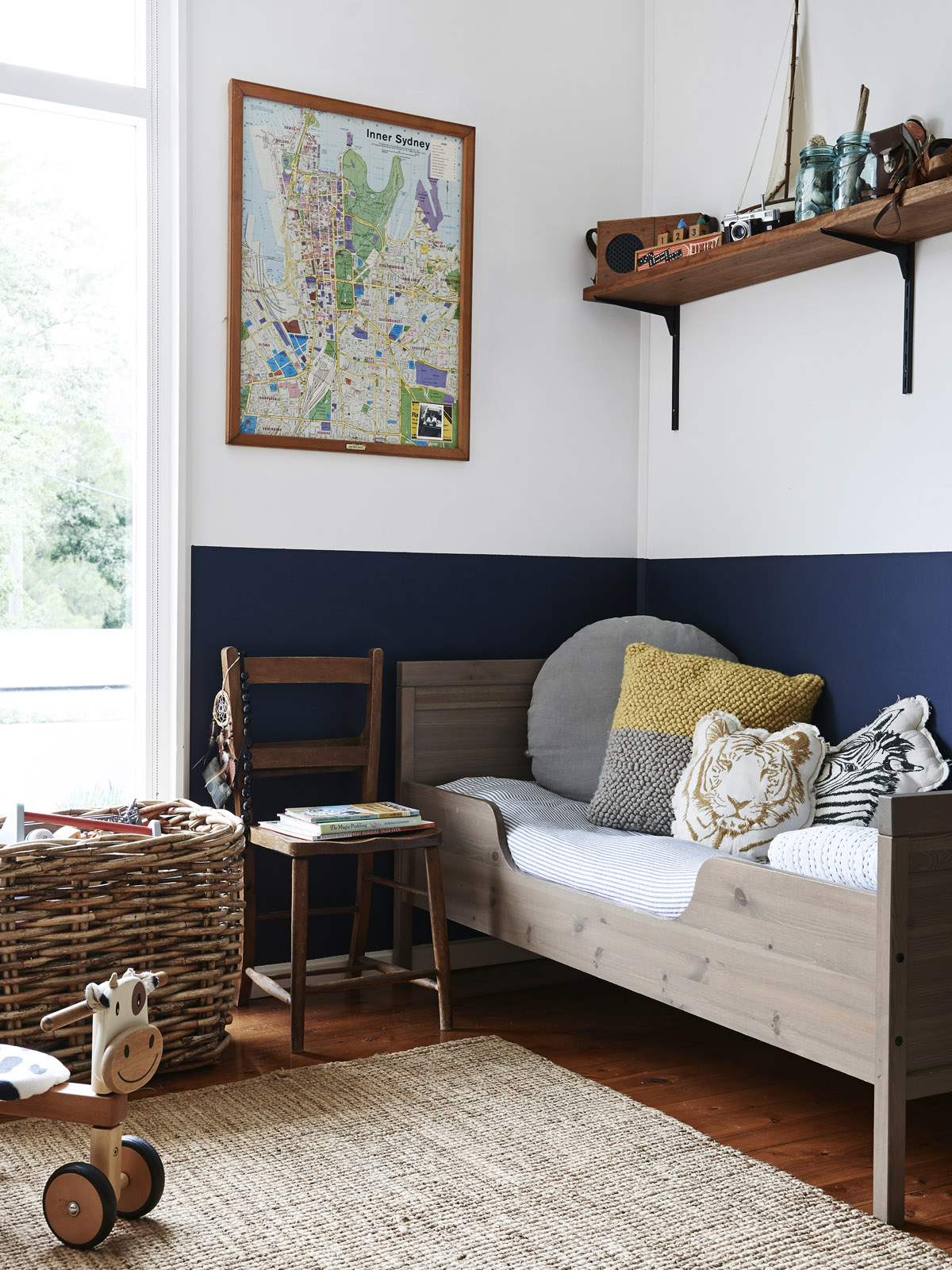blue and wood boy room