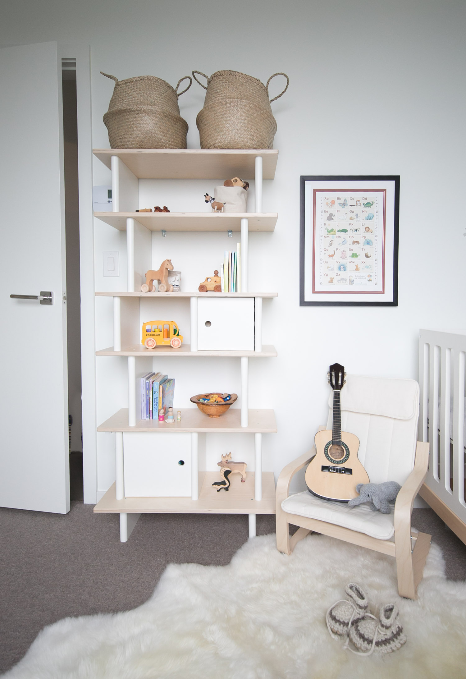 Oeuf vertical shelf in vancouver kids room