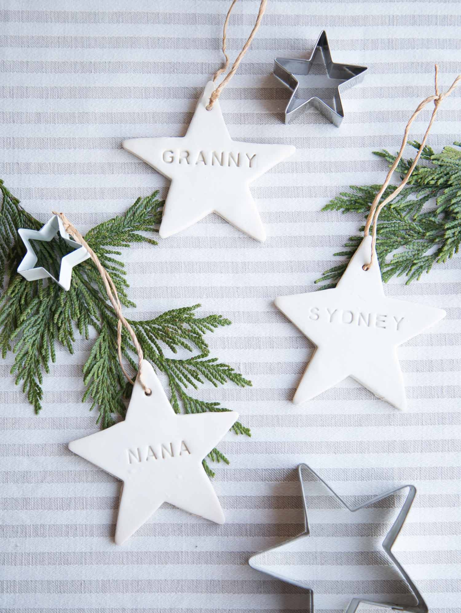 DIY personalized clay star ornaments