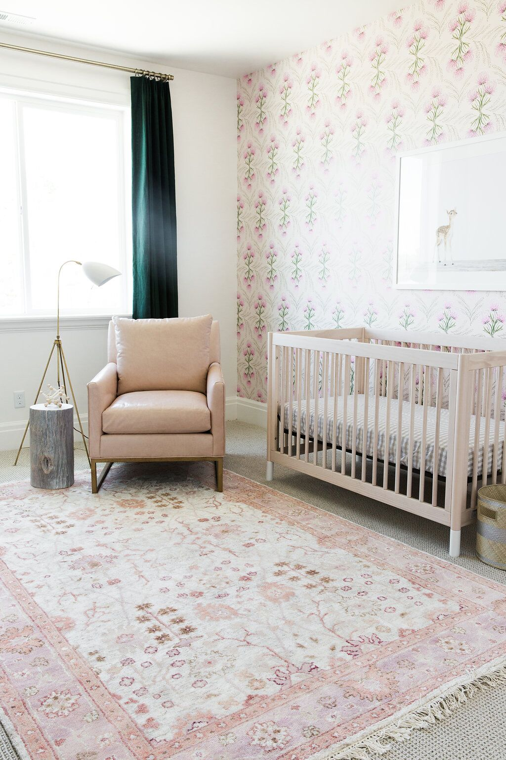 Nursery with pink rug