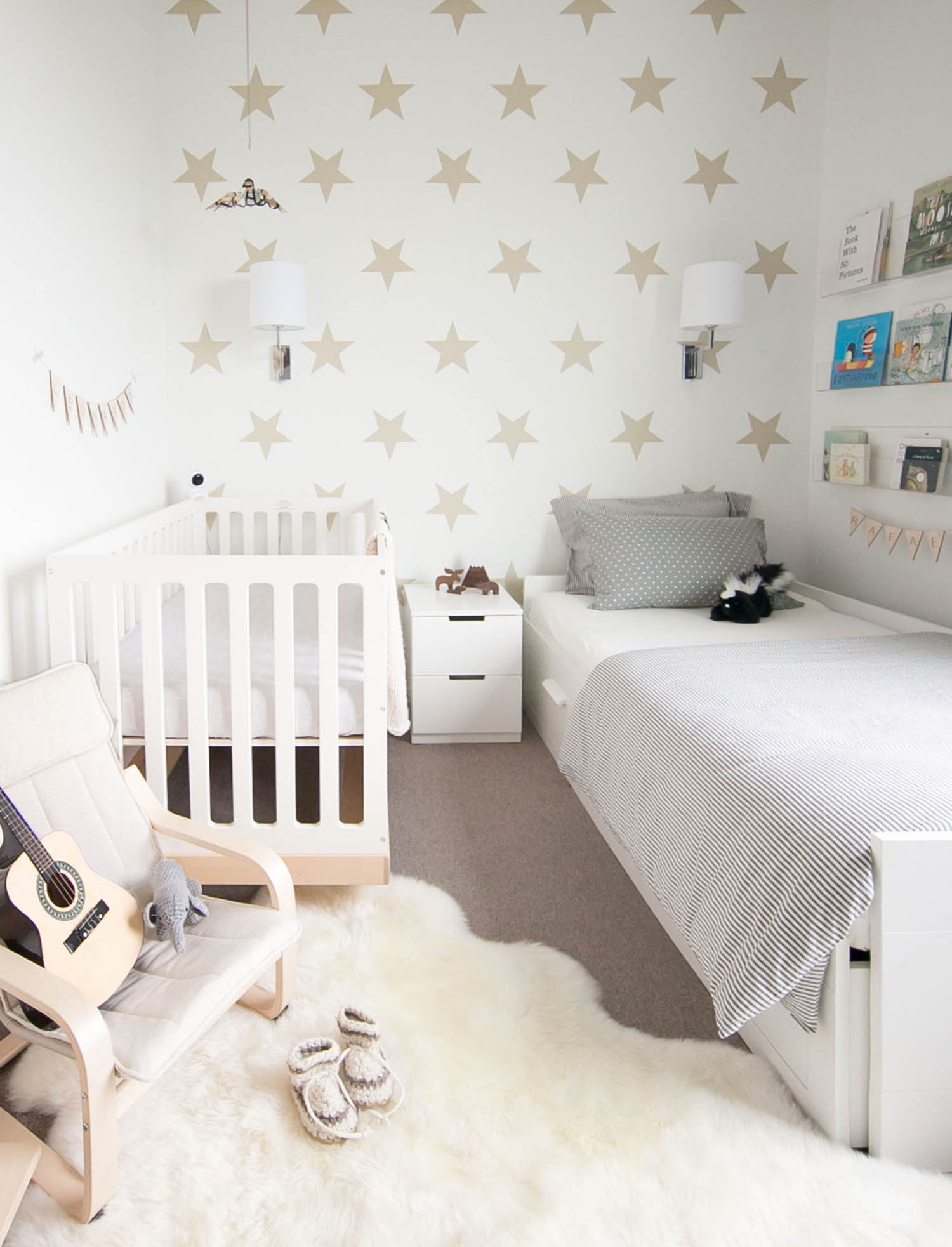 Shared baby and toddler room in tiny space by Vancovuer designer Melissa Barling