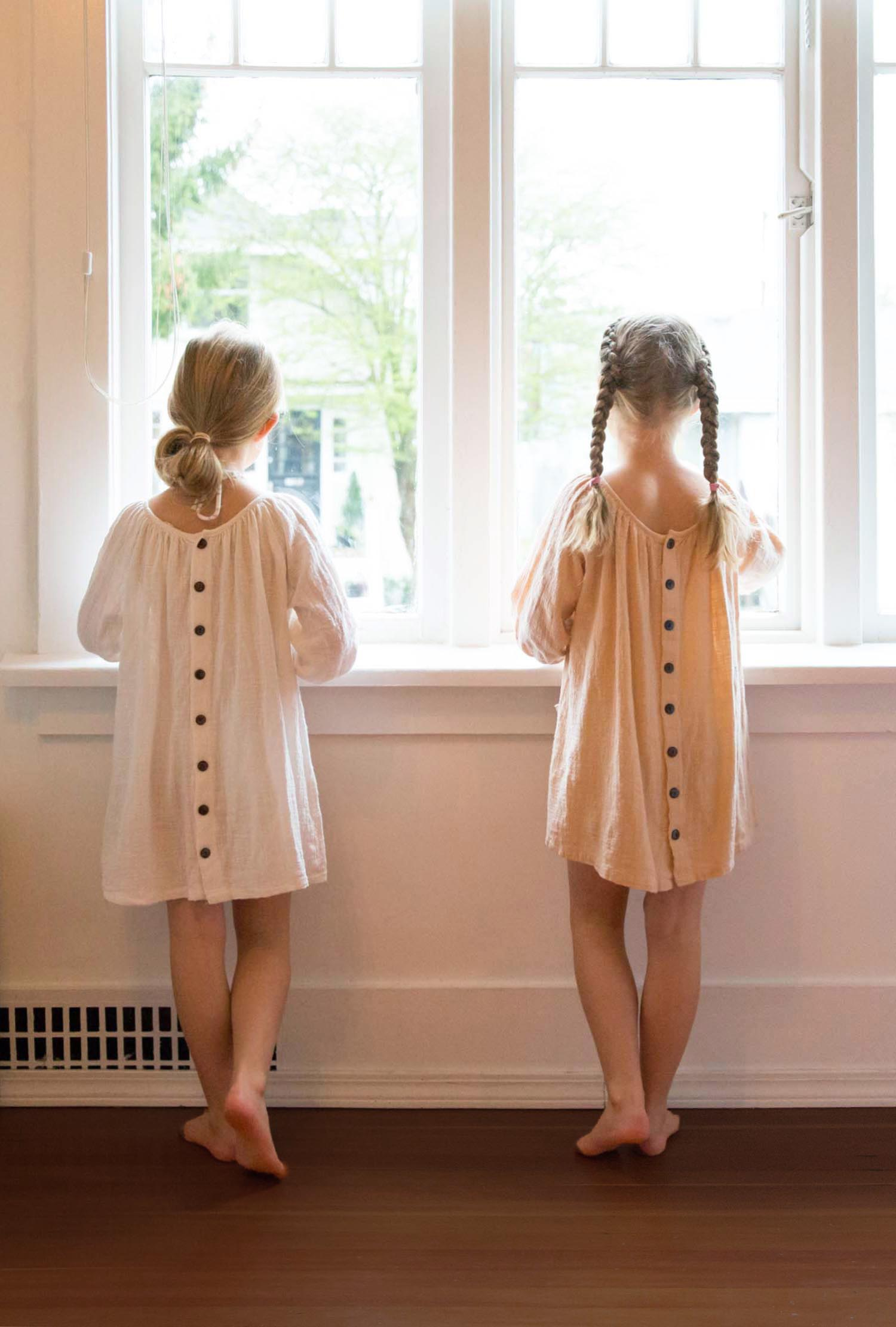7-year-old birthday girls waiting for friends in 'daughter dresses'