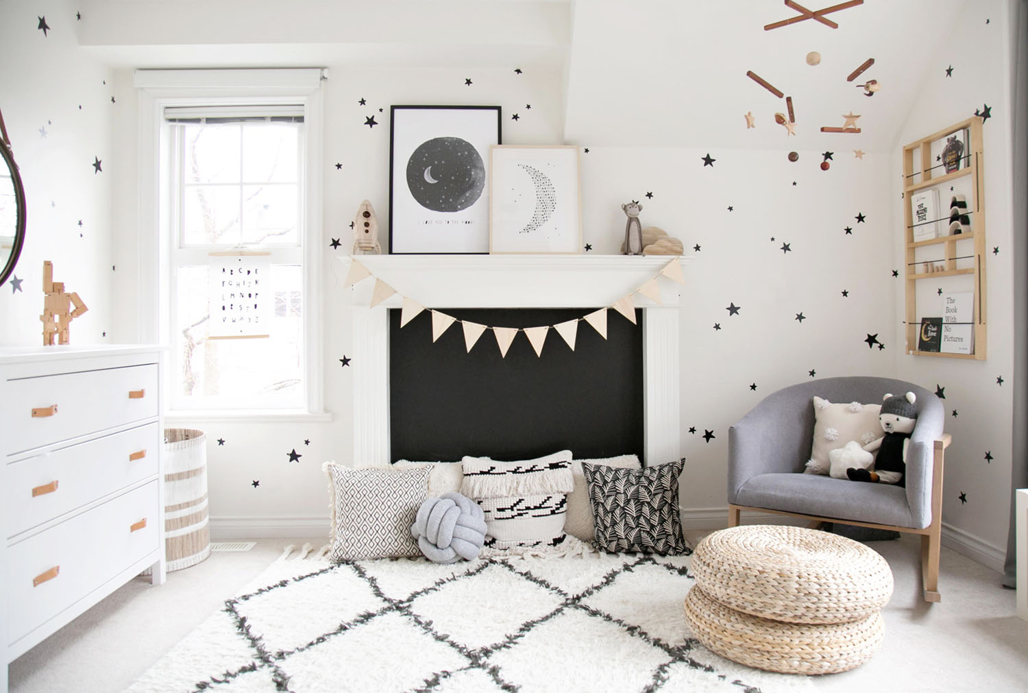 space inspired monochrome baby nursery