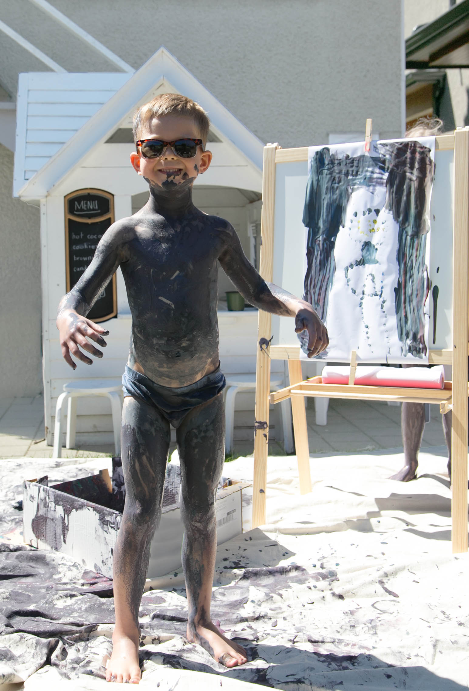 paint covered kid