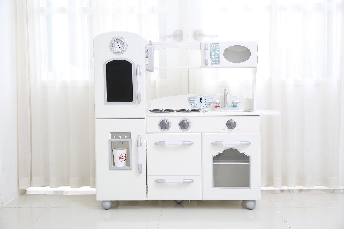 Retro white play kitchen for kids