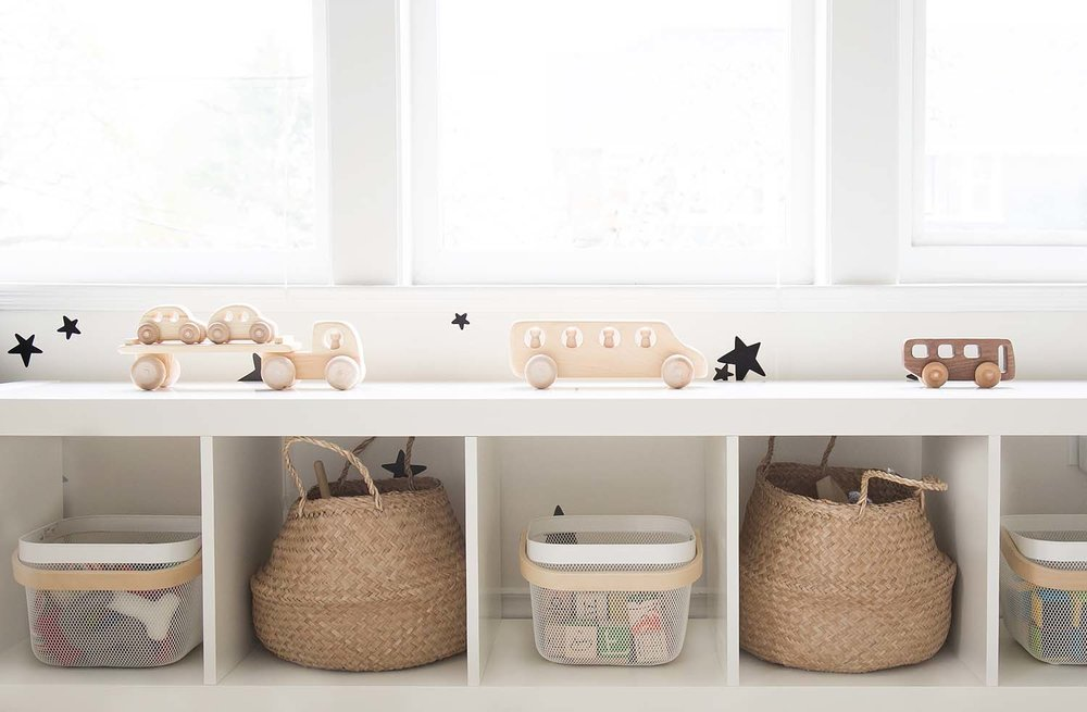 natural wood toys in kids room