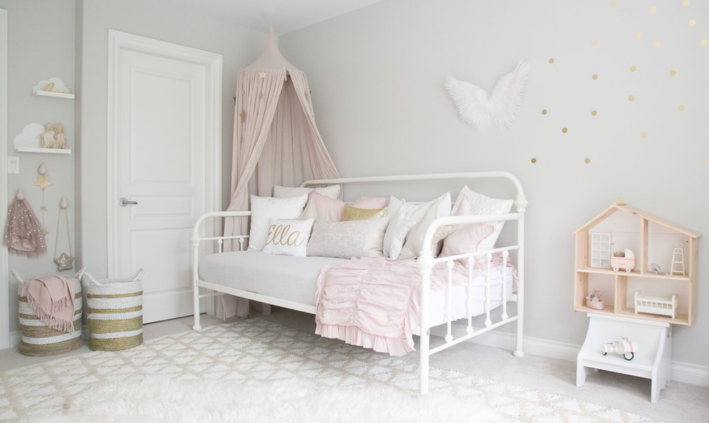 muted pink girls room