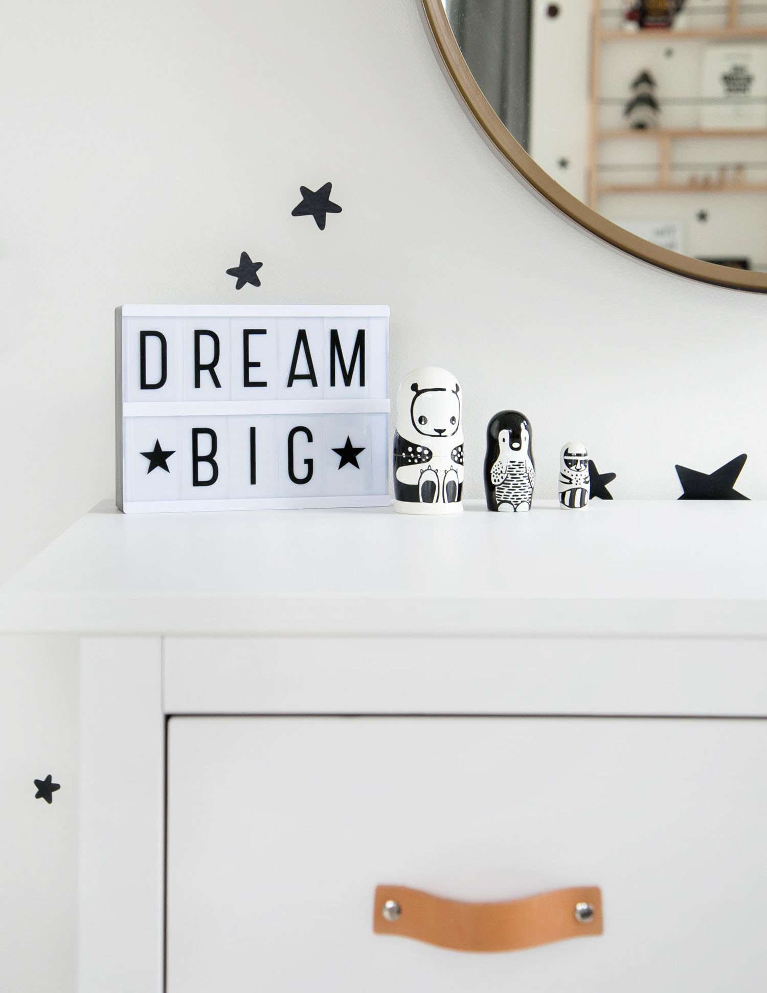 dream big and nesting dolls in vancouver kids room