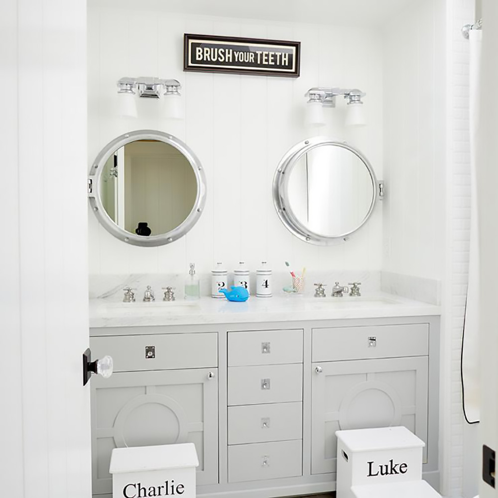 personalized kids stools in kids bathroom