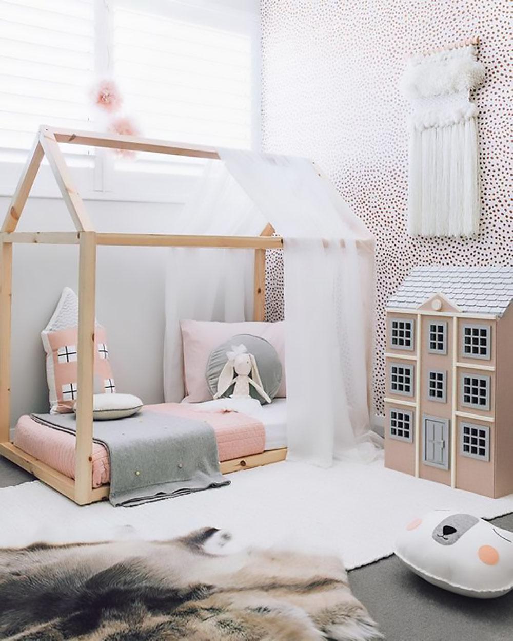house frame floor bed in girls room