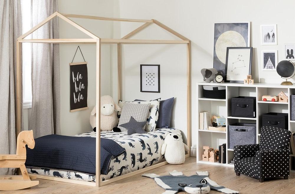kids house bed frame in boys room