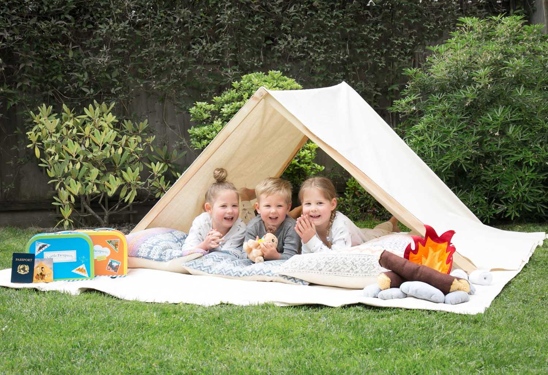 backyard camping with Little Passports