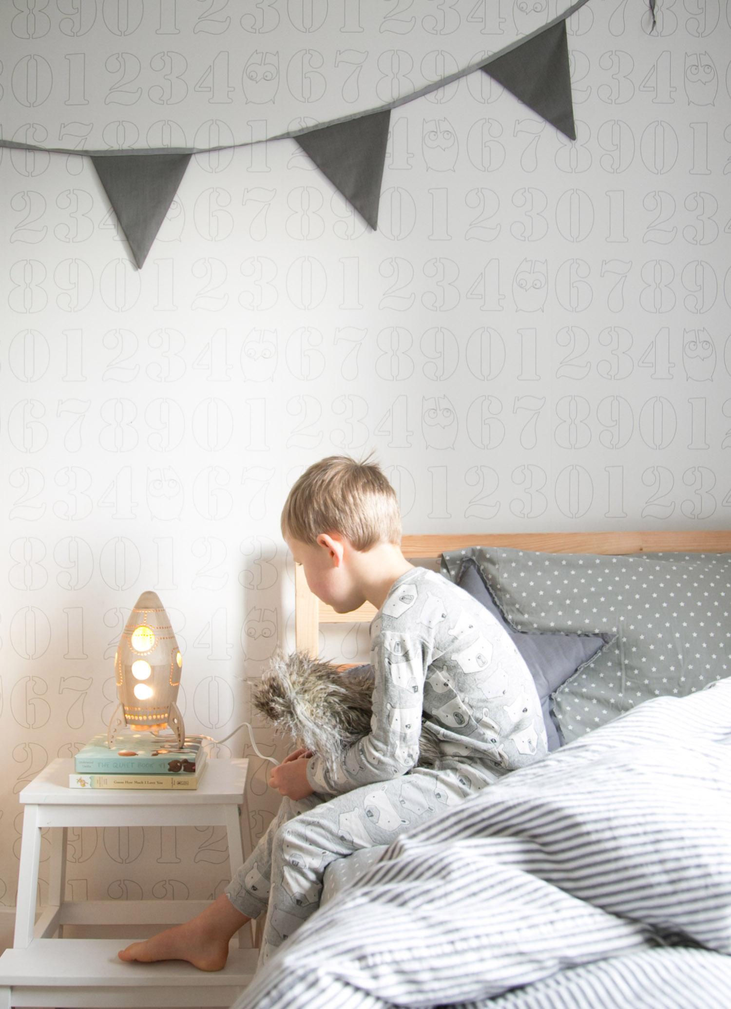 rocket night light in kids room