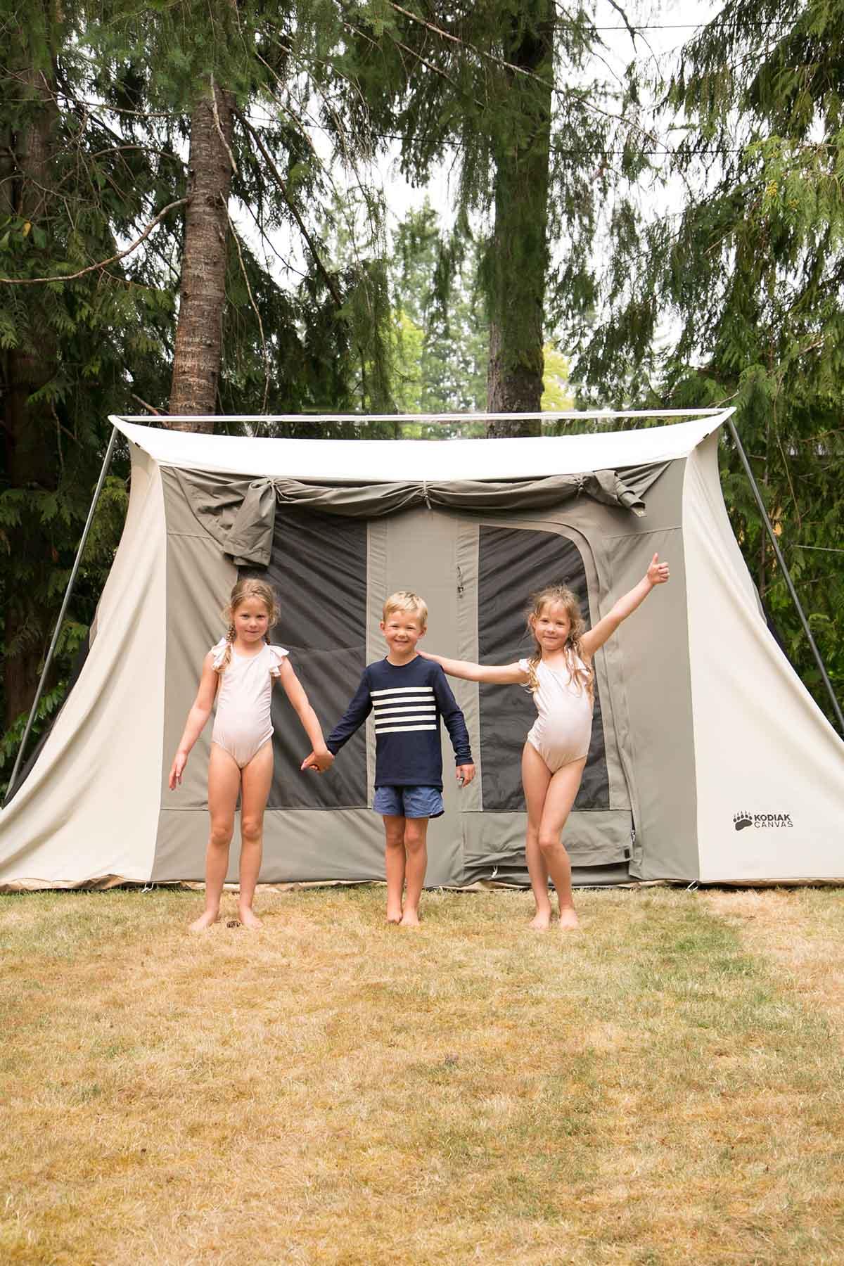 Kids with Kodiak Canvas family tent