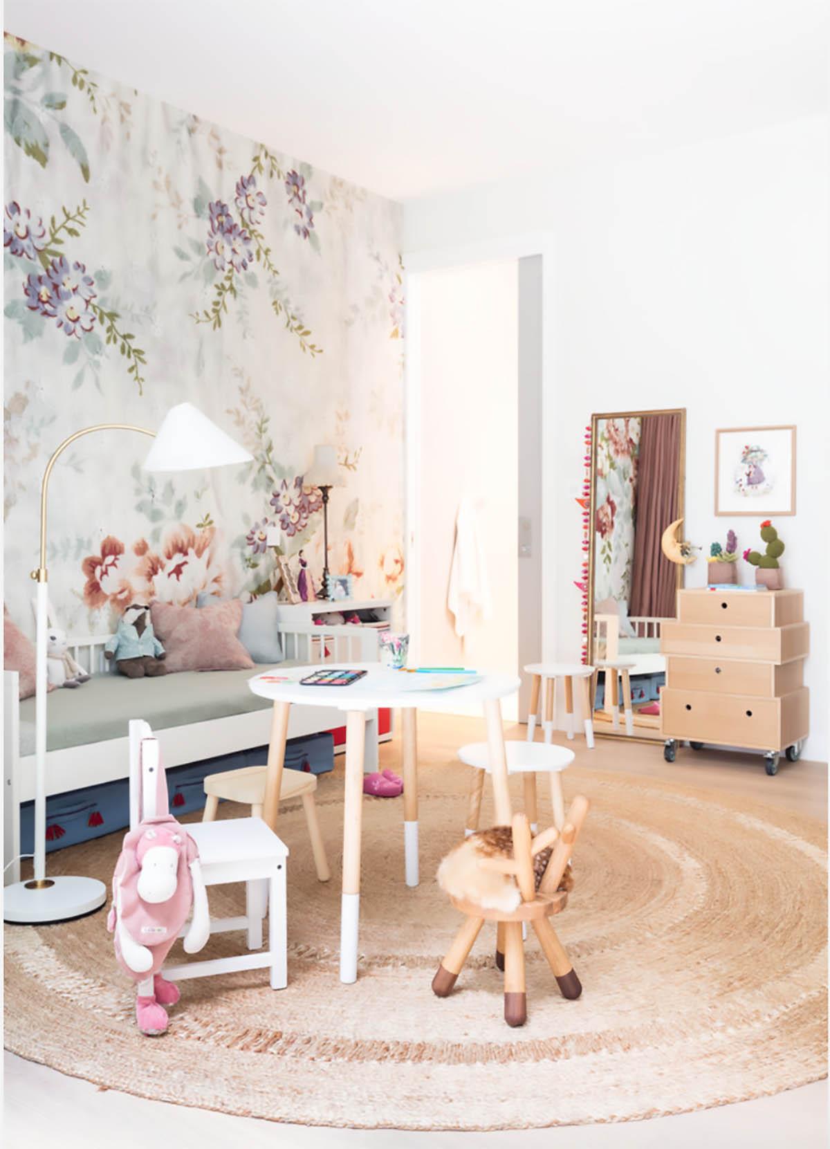 round jute rug in playroom