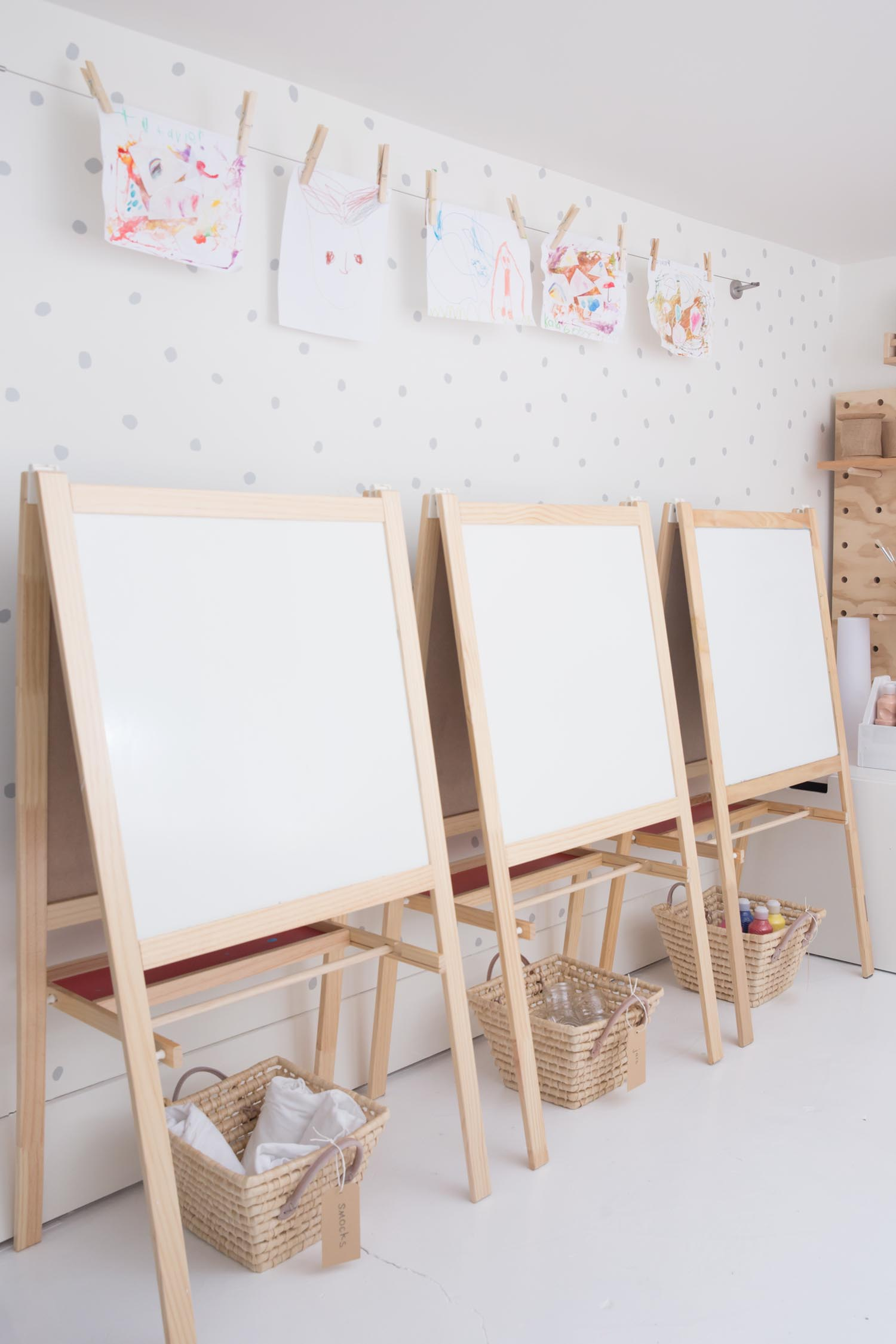 paint easels in kids art space
