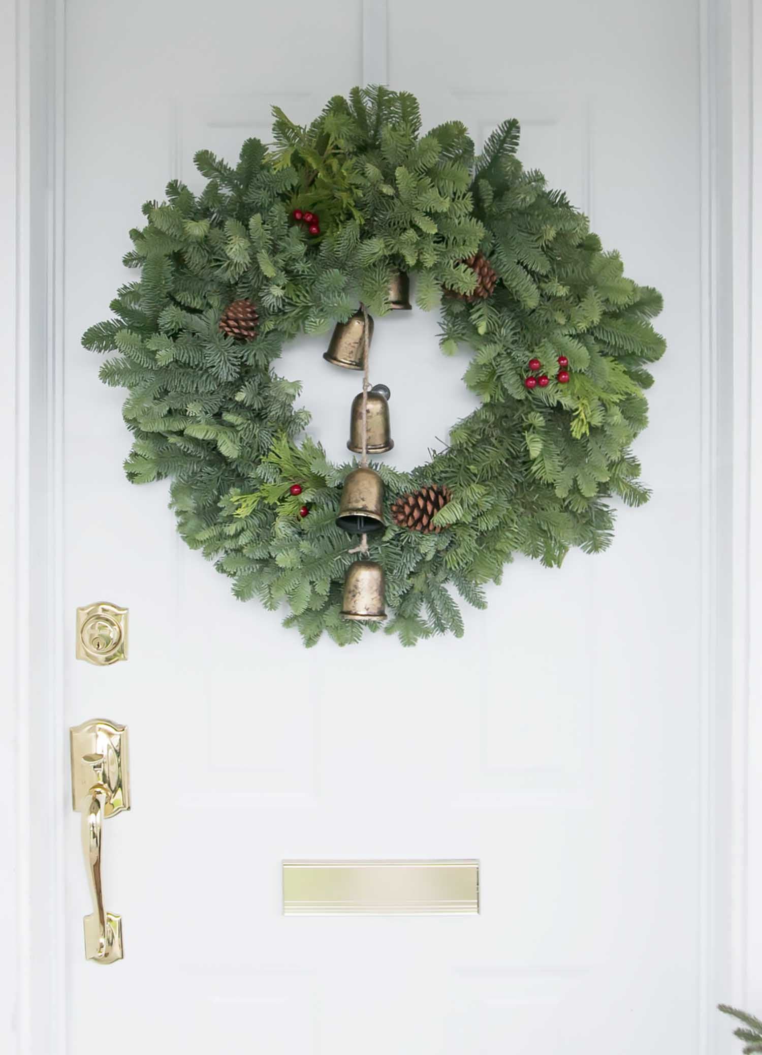christmas wreath and bells