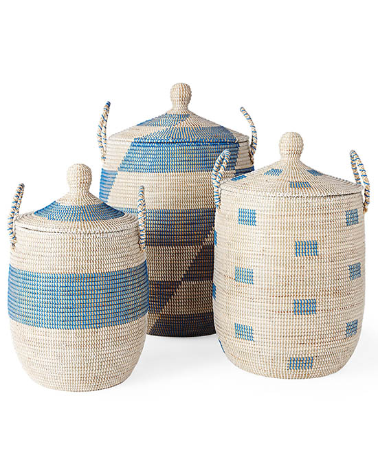 blue patterned storage baskets