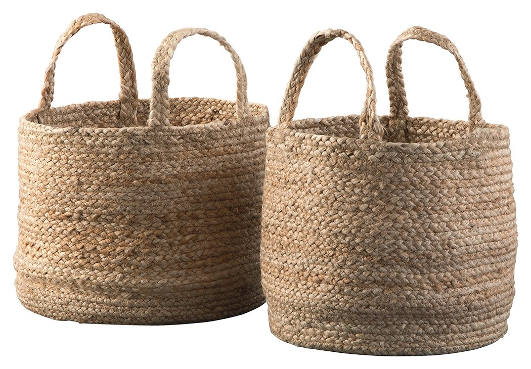 set of 2 jute baskets with handles