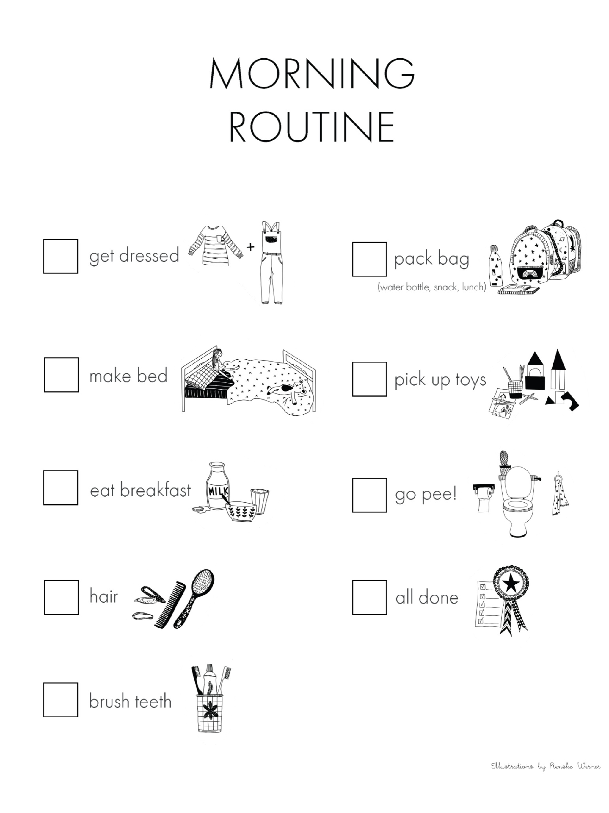 Morning routine chart free printable