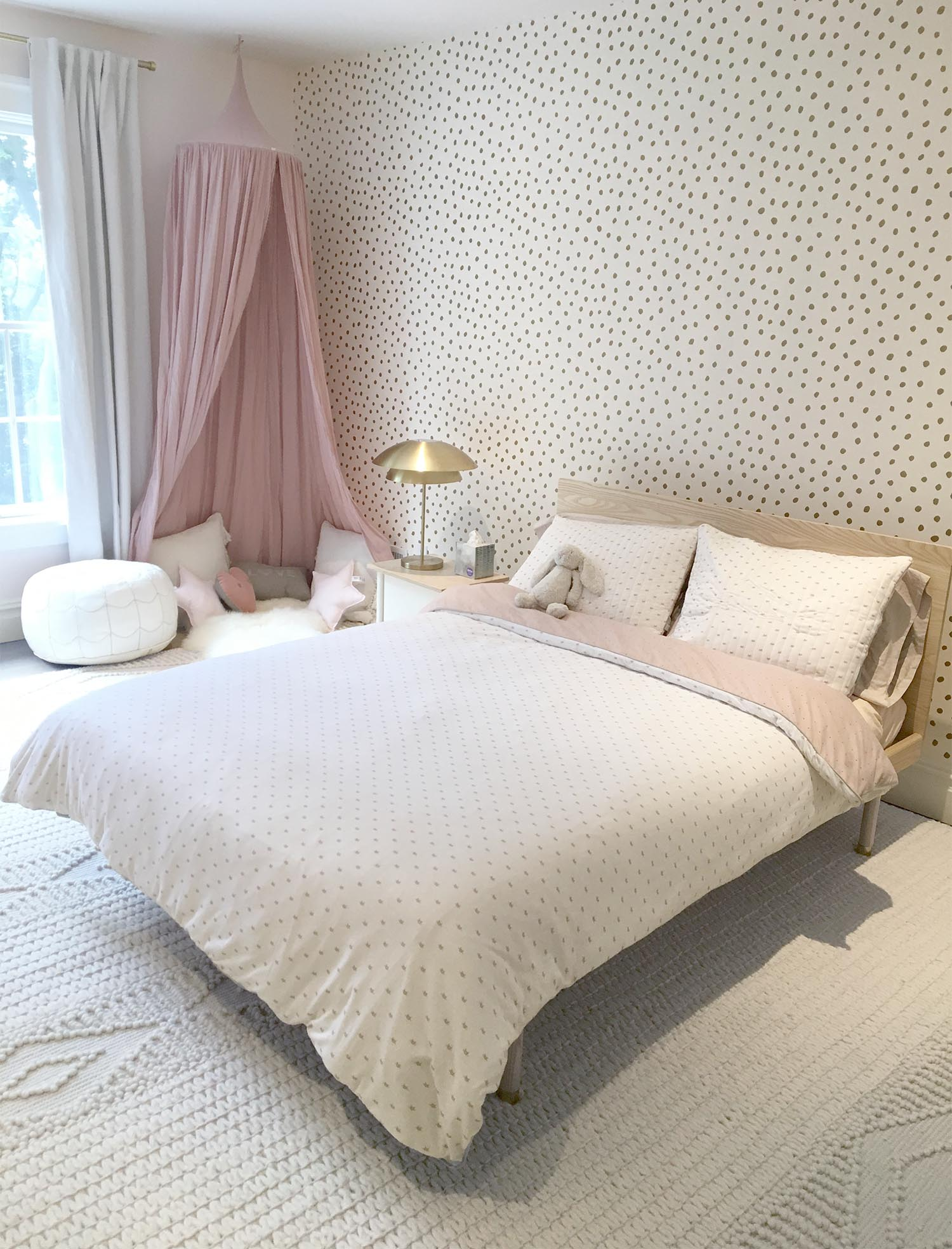 Pink, gold and cream girls room