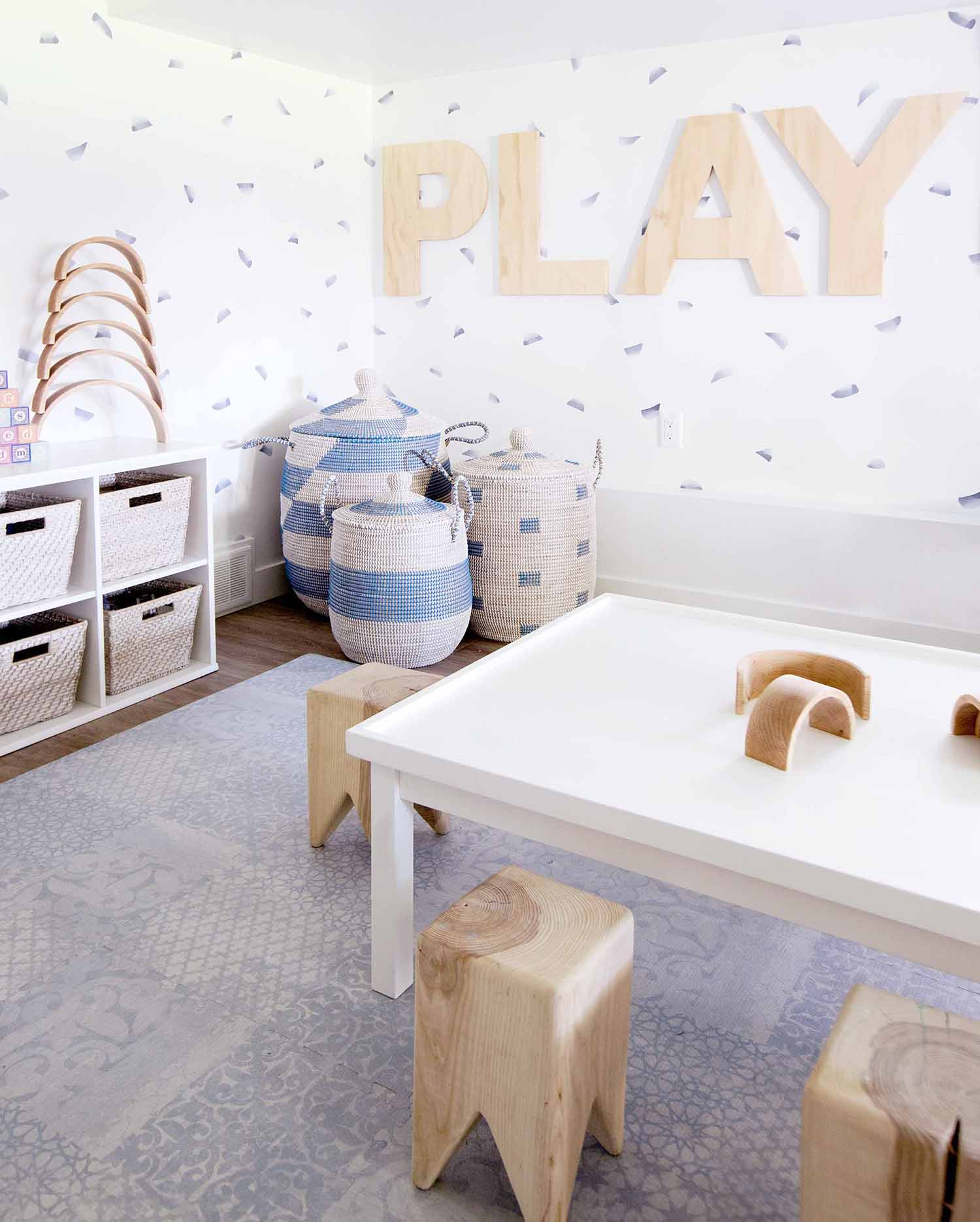 neutral basement playroom with decals