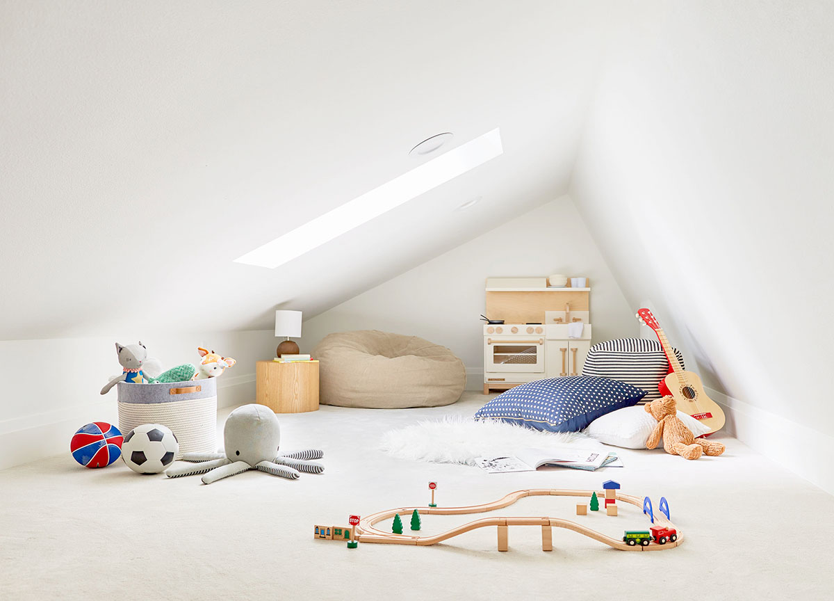 Attic play space with skylight