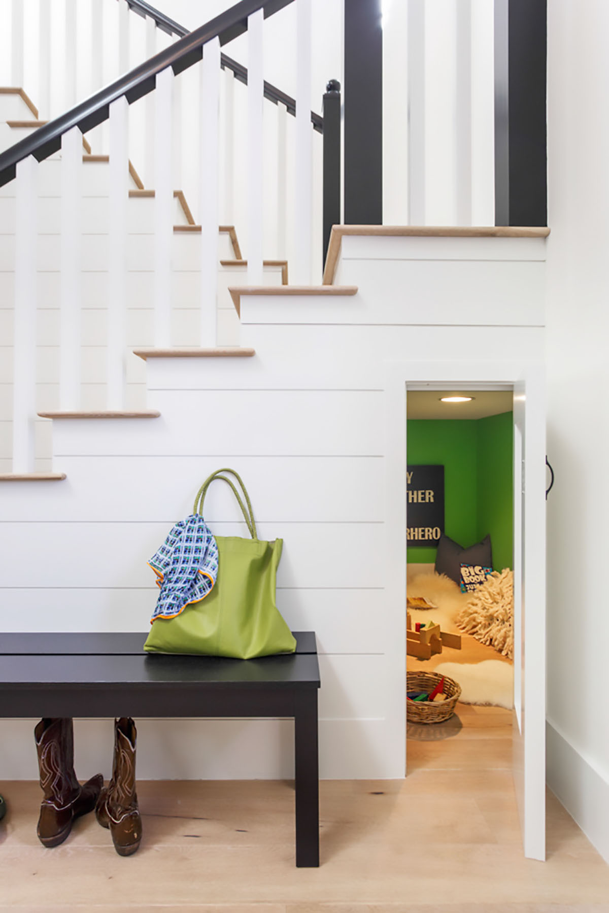 Secret kids playroom under stairs
