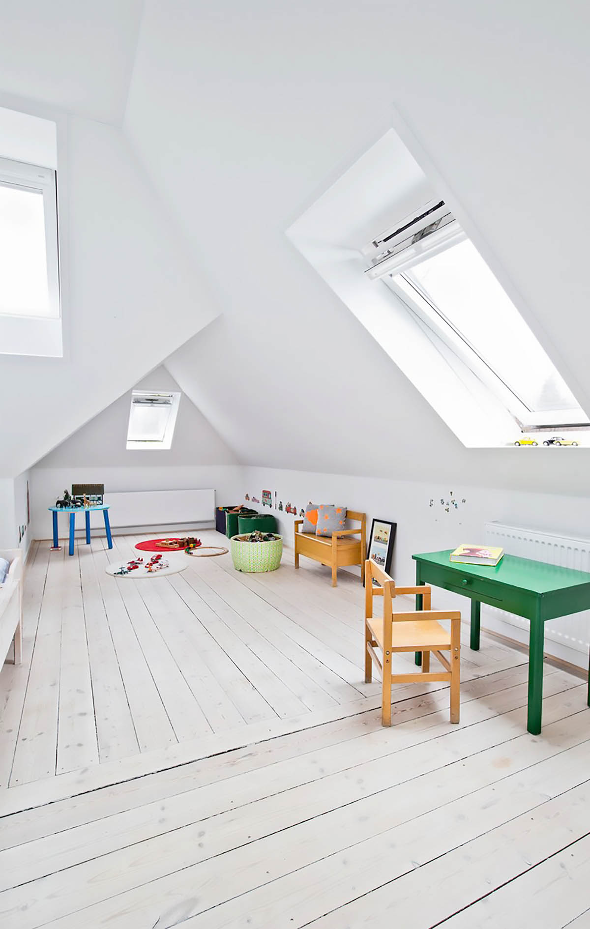 A light-filled attic children's playroom
