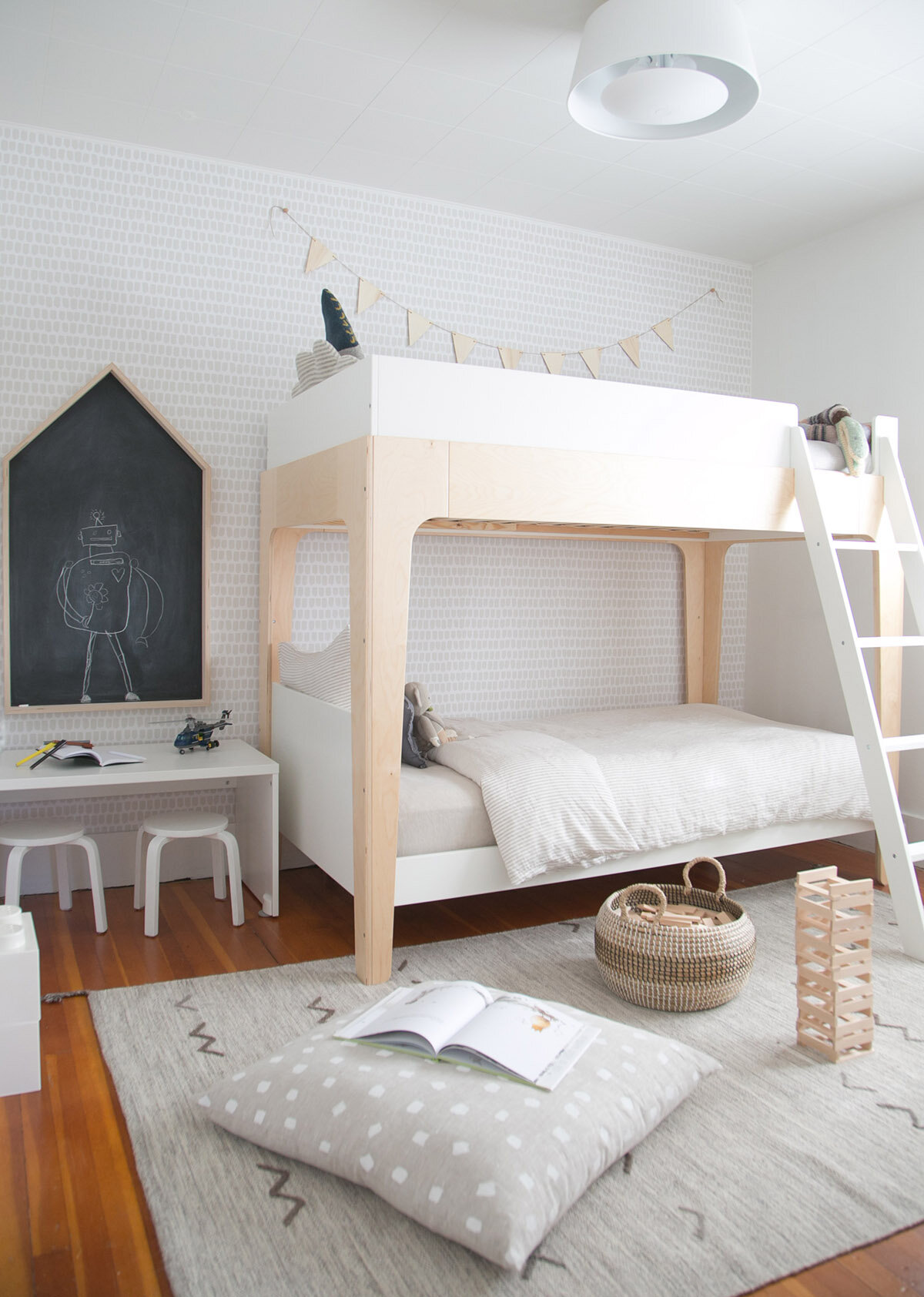 neutral boy room with oeuf bunk bed