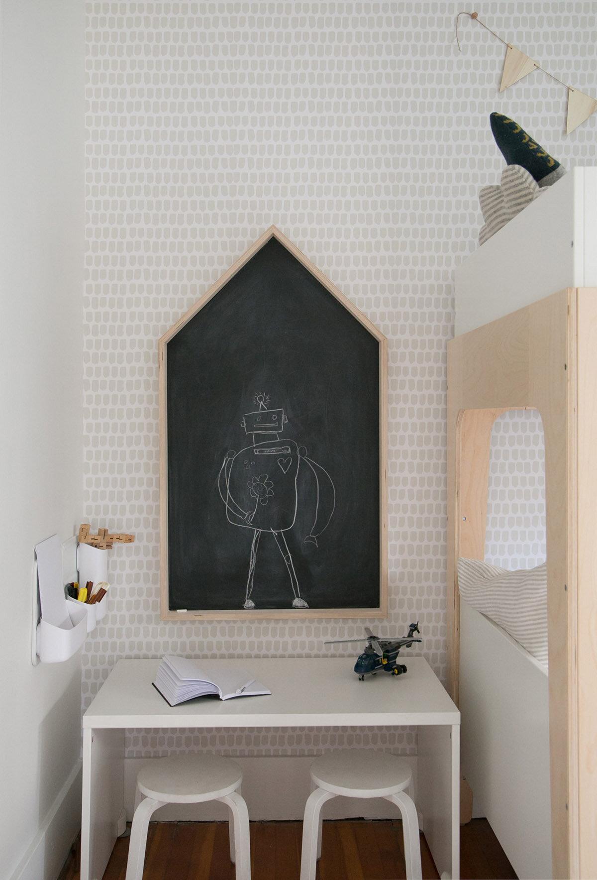 house shaped chalkboard in kids room