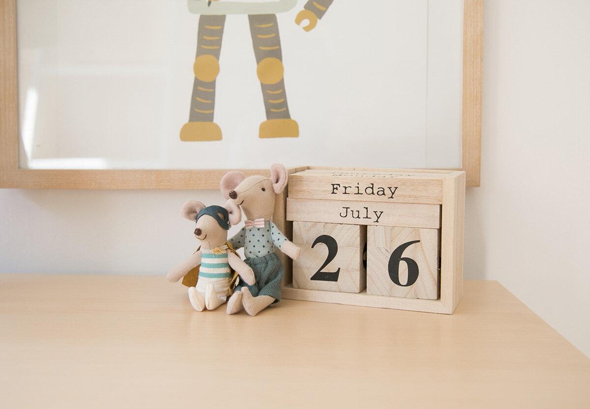 calendar blocks with maileg mice in children's room